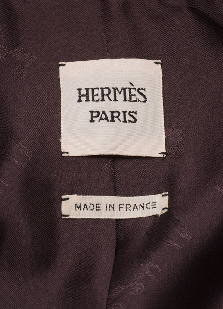 Hermes Purple Velvet One Button Long Blazer Brand
