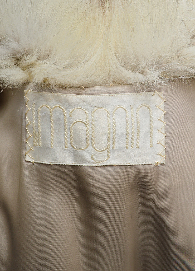 Cream and Brown I.Magnin Fur Channeled Coat Brand