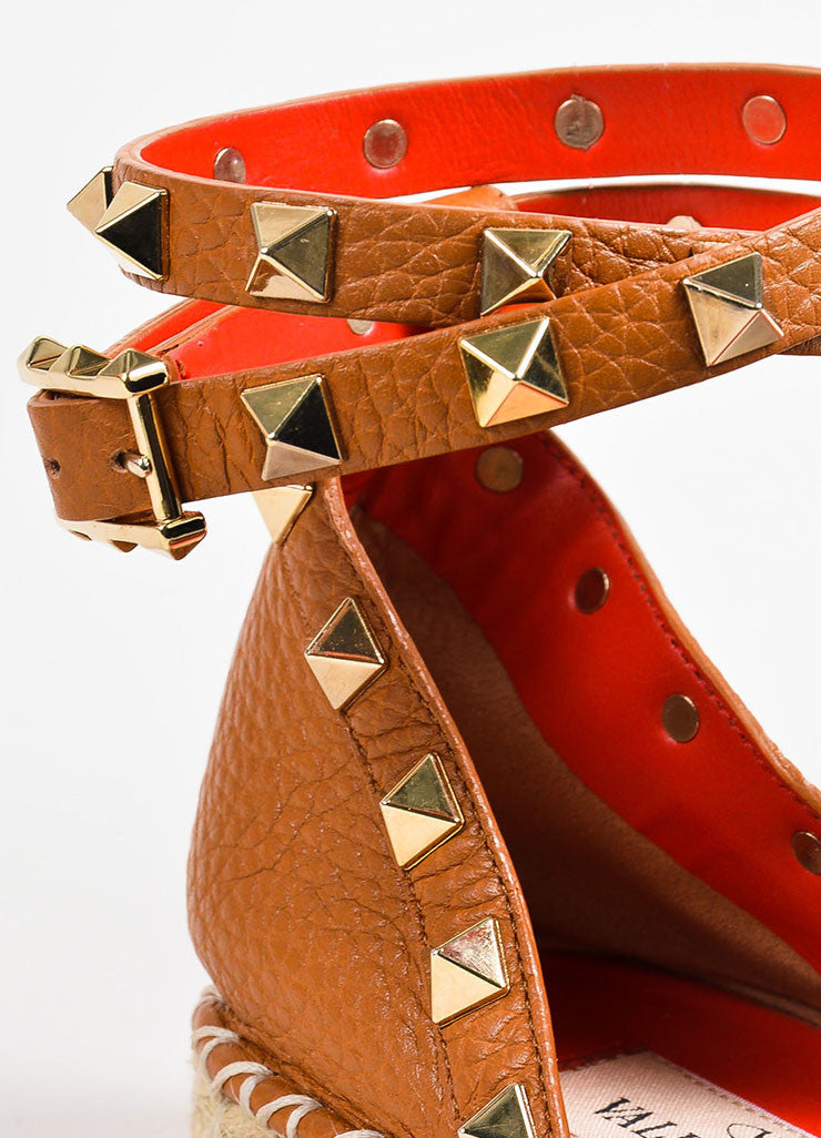 "Valentino Garavani Brown Leather ""Rockstud"" Embellished Wrap Espadrilles Detail"