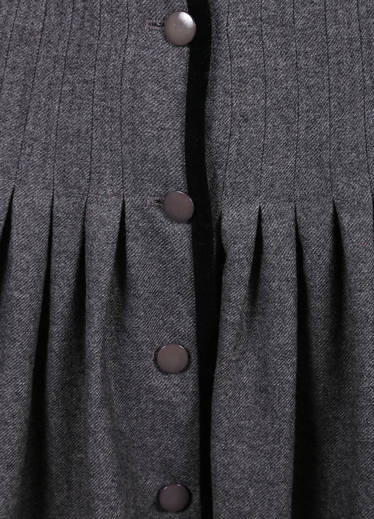 Valentino Grey Wool Front Button Midi Skirt Detail