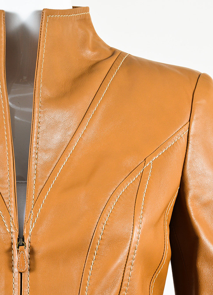 Valentino Camel Tan Leather Stitch Trim Belted Jacket Detail