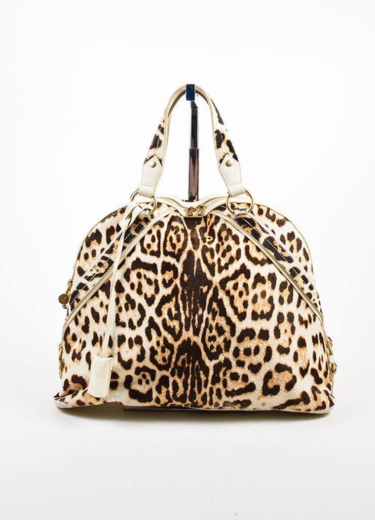 "Yves Saint Laurent Cream Leopard Print Pony Hair Leather ""Large Muse"" Bag Frontview"