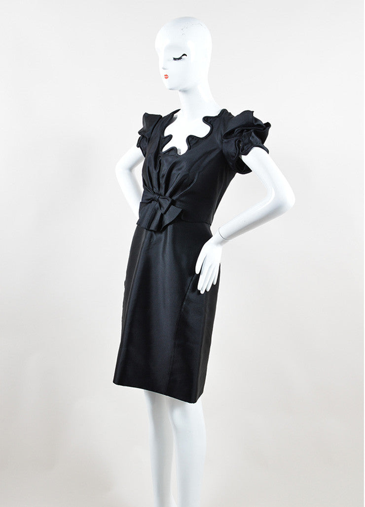 Black Zac Posen Silk Structured Swirl Trim Short Sleeve Dress Sideview