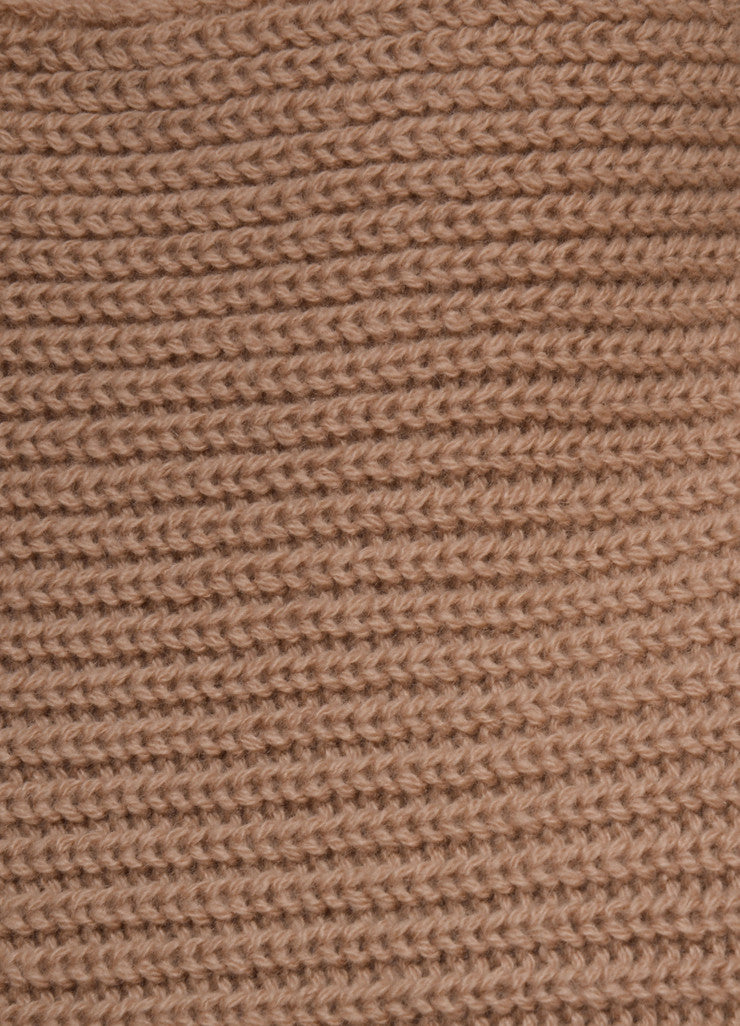 Brown Cashmere Ribbed Knit Draped Sleeve Sweater