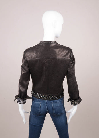Black Thomas Wylde Jewel Studded Leather Jacket