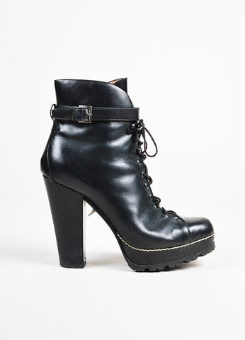 Alaia Black Leather Lace Up Heeled Platform Combat Ankle Boots Sideview
