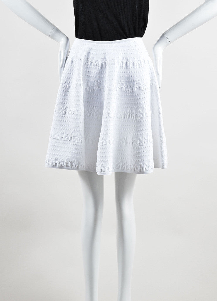 "Alaia White Mattelasse Knit Flared Circle ""Jupe Courte"" Skirt Frontview"
