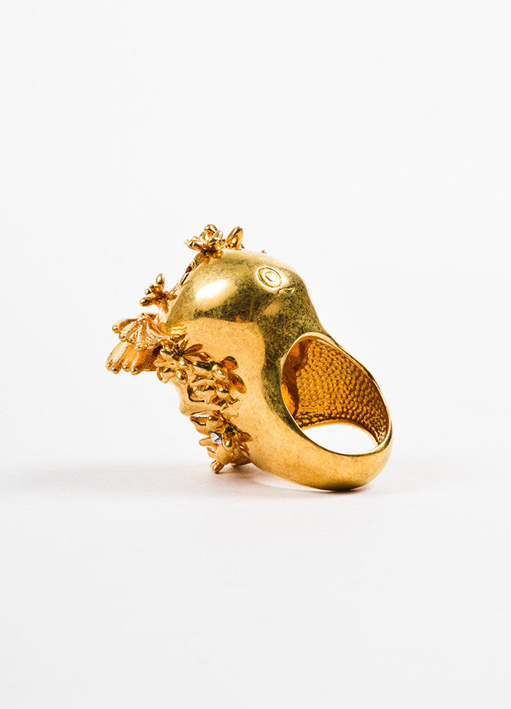 Alexander McQueen Gold Toned Swarovski Crystal Floral Skull Ring Backview