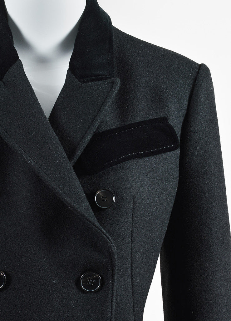 Alexander McQueen Black Wool and Velvet Combo Double Breasted Coat Detail