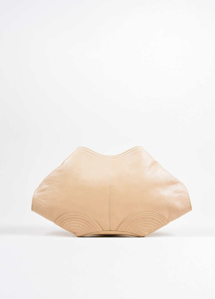 "Alexander McQueen Beige and Gold Toned Leather ""De Manta"" Zip Clutch Bag Frontview"