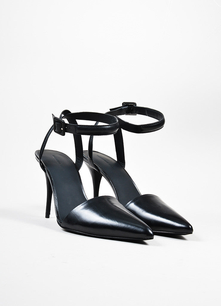 "Black Alexander Wang Leather Pointed Ankle Strap ""Lovisa"" Pumps Frontview"