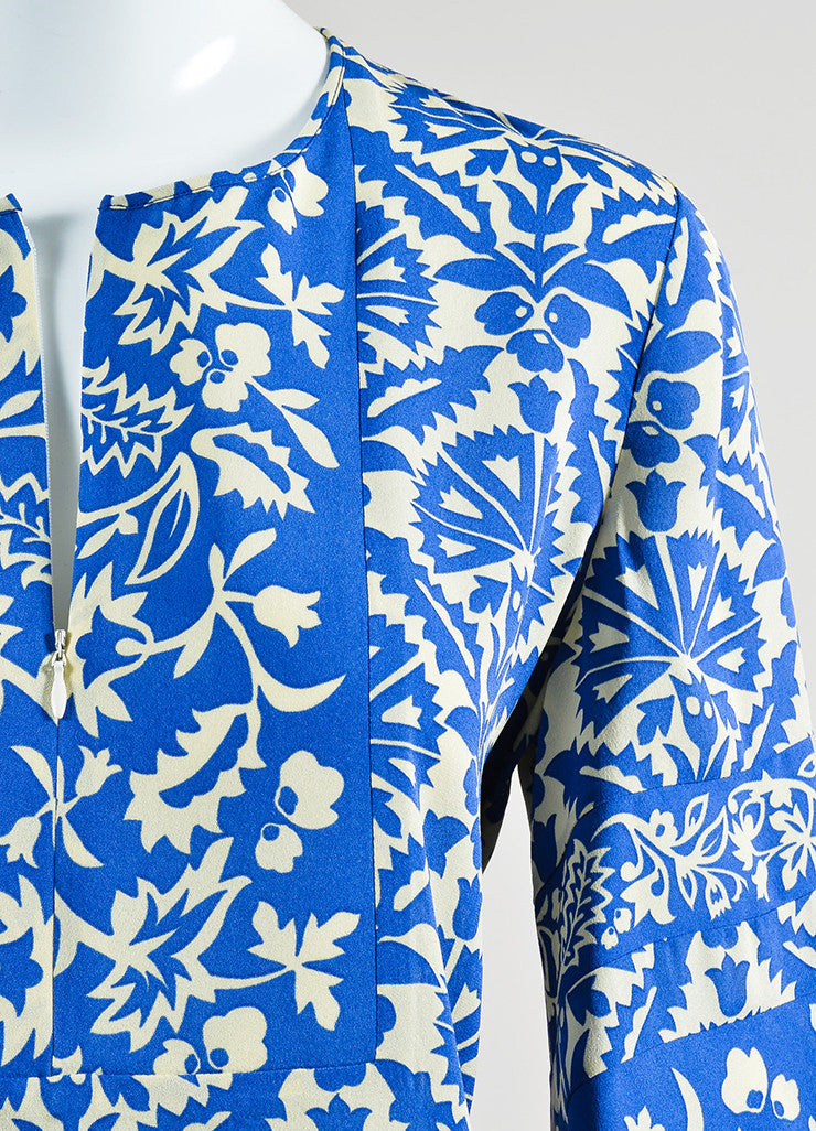 Royal Blue and Cream Andrew Gn Silk Floral Long Sleeve Tunic Top Detail