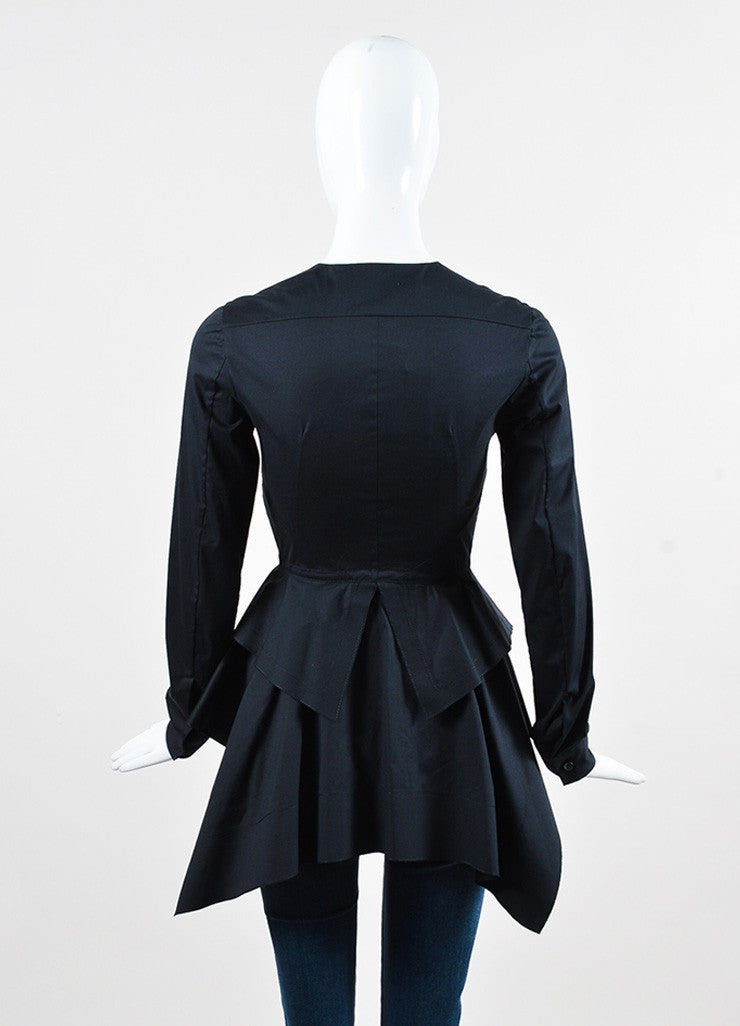 Aquilano Rimondi Black Cotton Blend Ruffled Tiered Peplum Blouse Backview