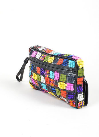 Black and Multicolor Bottega Veneta Patchwork Leather Oblong Zip Mirror Pull Clutch Sideview
