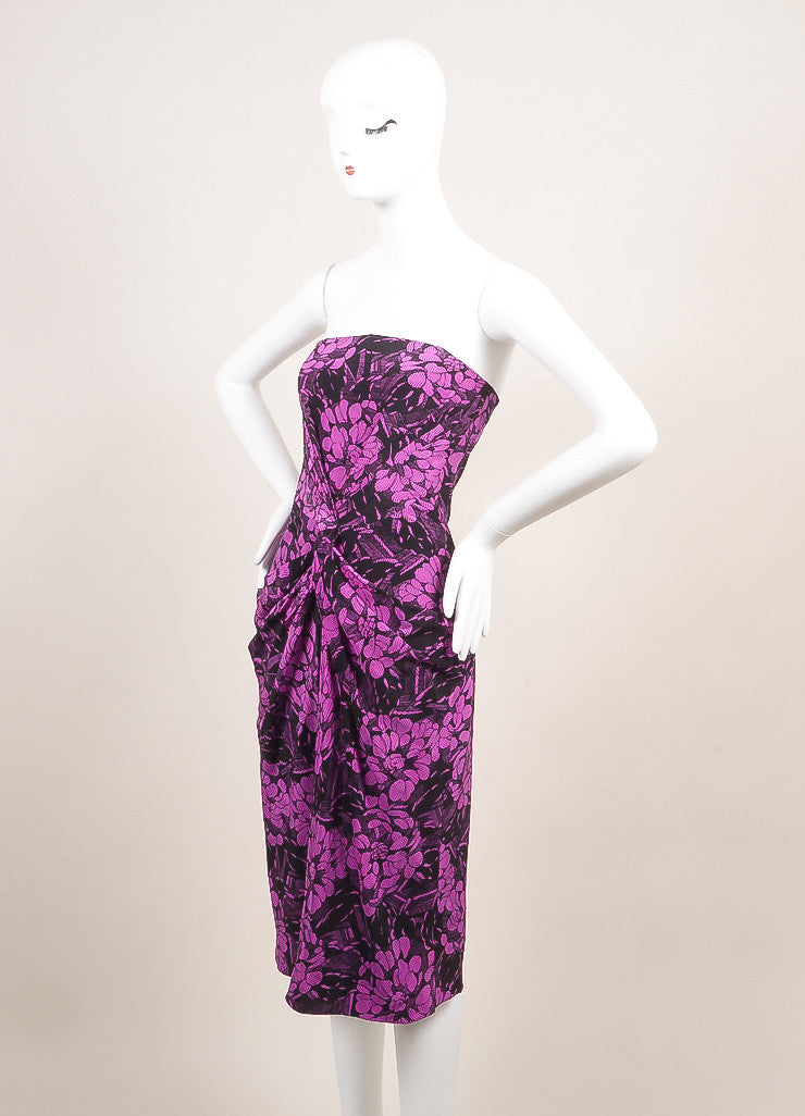 Bottega Veneta New With Tags Black and Purple Silk Floral Print Strapless Dress Sideview