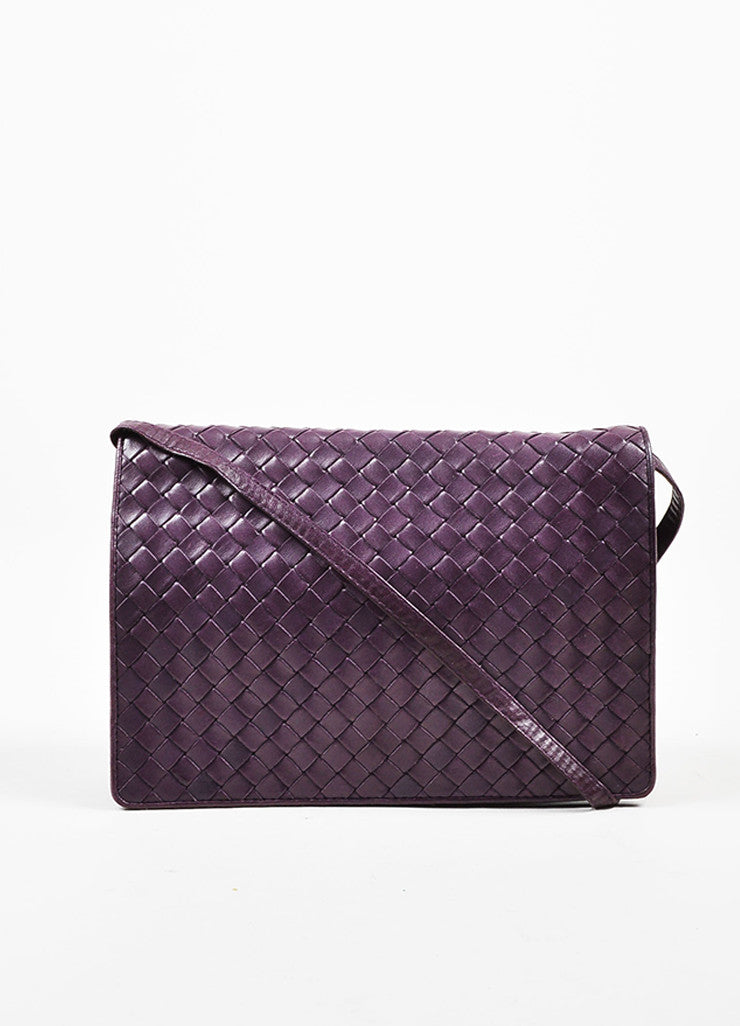 Bottega Veneta Purple Woven Leather Shoulder Flap Bag Frontview