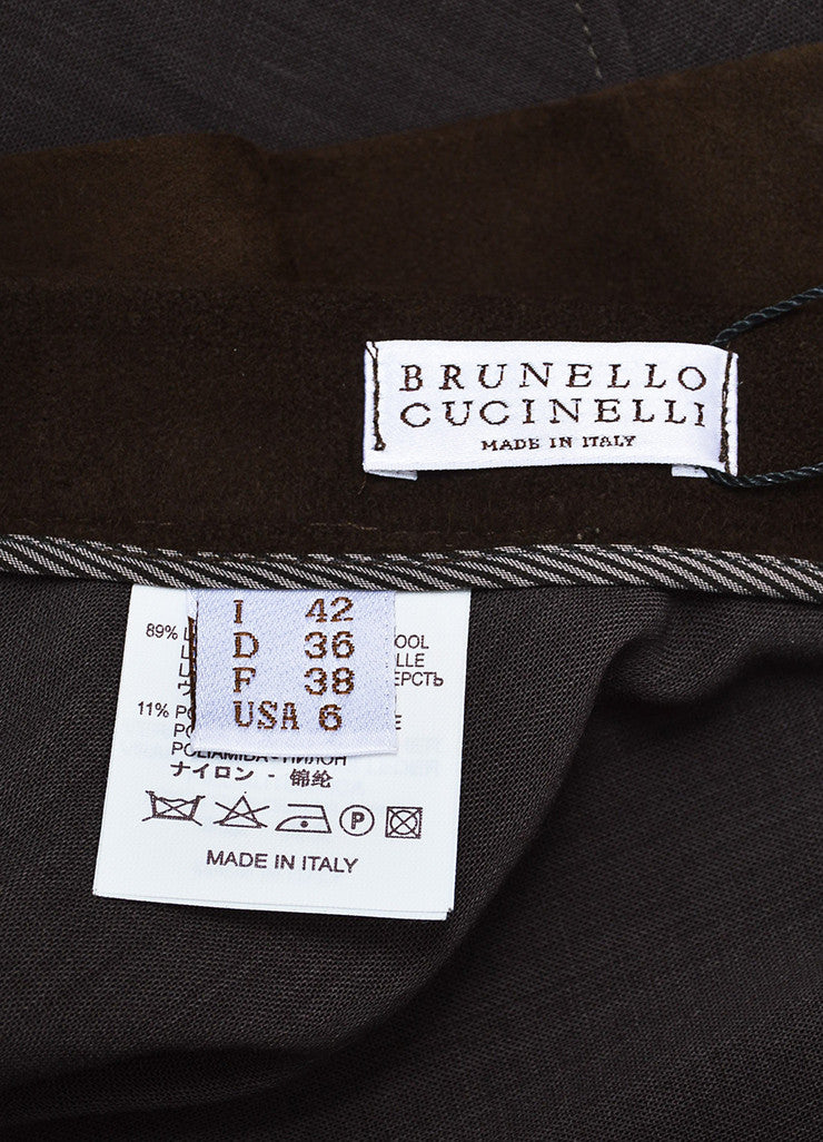 Brunello Cucinelli Brown Suede and Wool Blend Asymmetrically Tiered Skirt Brand