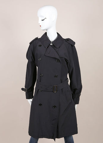 Burberry Black Long Lightweight Cotton Trench Coat  Frontview