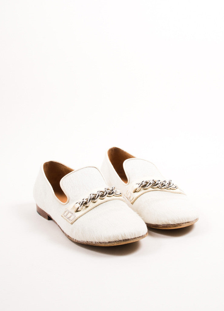 Celine Cream Pony Hair Chain Link Smoking Slipper Loafers Frontview