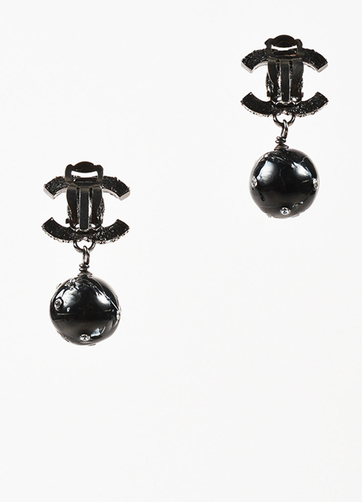 Black Chanel Silver Crystal 'CC' Ball Drop Clip On Earrings