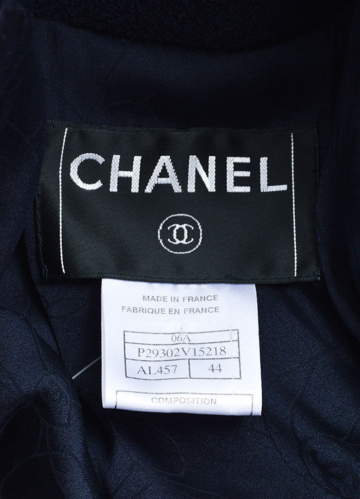 Chanel Navy Blue Wool Textured Hooded 'CC' Toggle Cropped Jacket Brand