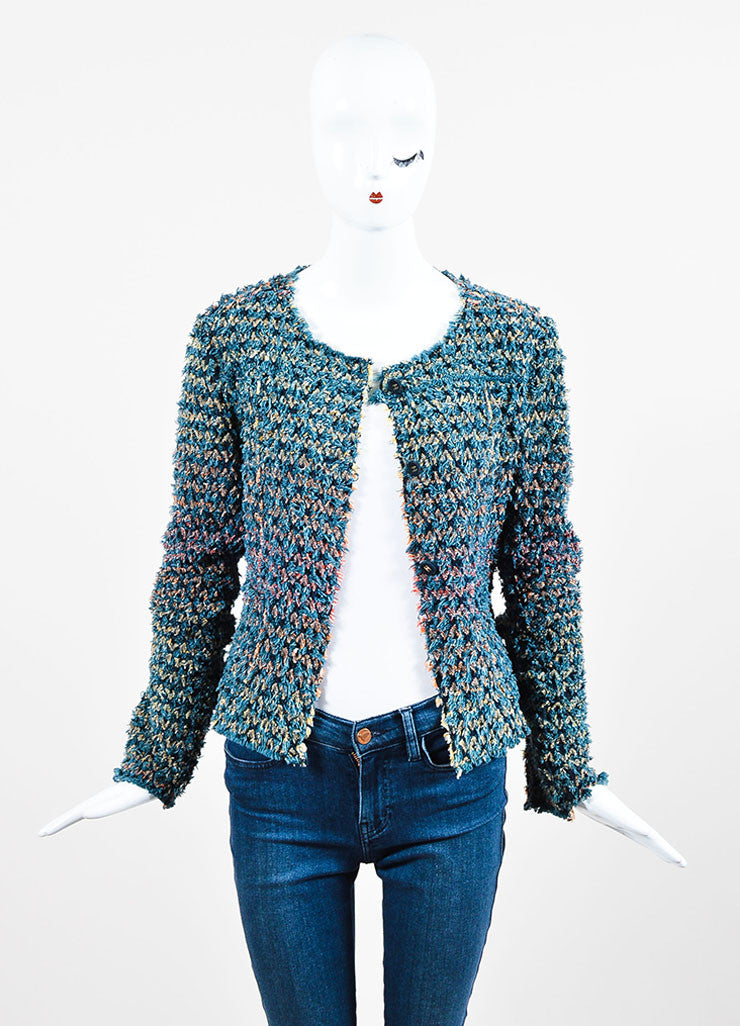 Blue, Red, and Yellow Chanel Cotton Shag Crochet Cardigan Sweater Frontview