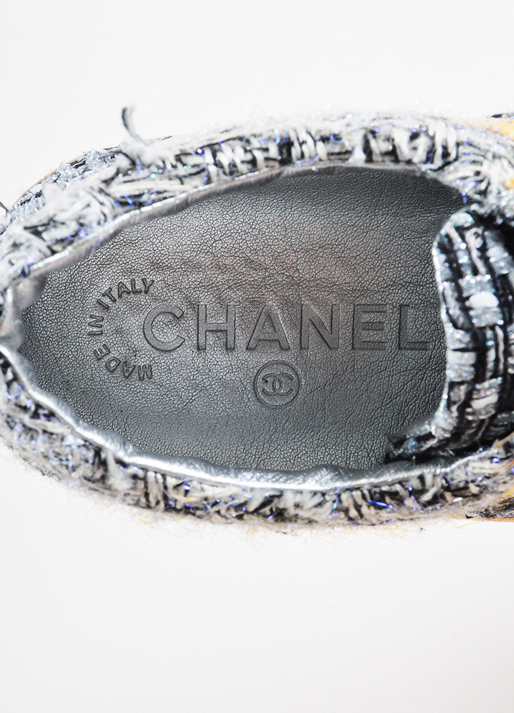 Chanel Gold, Silver, and Black Tweed Lace Up Athletic Sneakers Brand