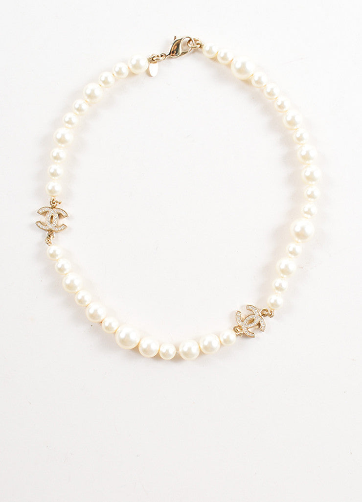 "Chanel Faux Pearl and Gold Toned Rhinestone ""CC"" Logo Necklace Frontview"