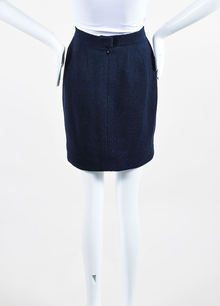 Navy Blue Chanel Boucle Wool Pencil Skirt Backview