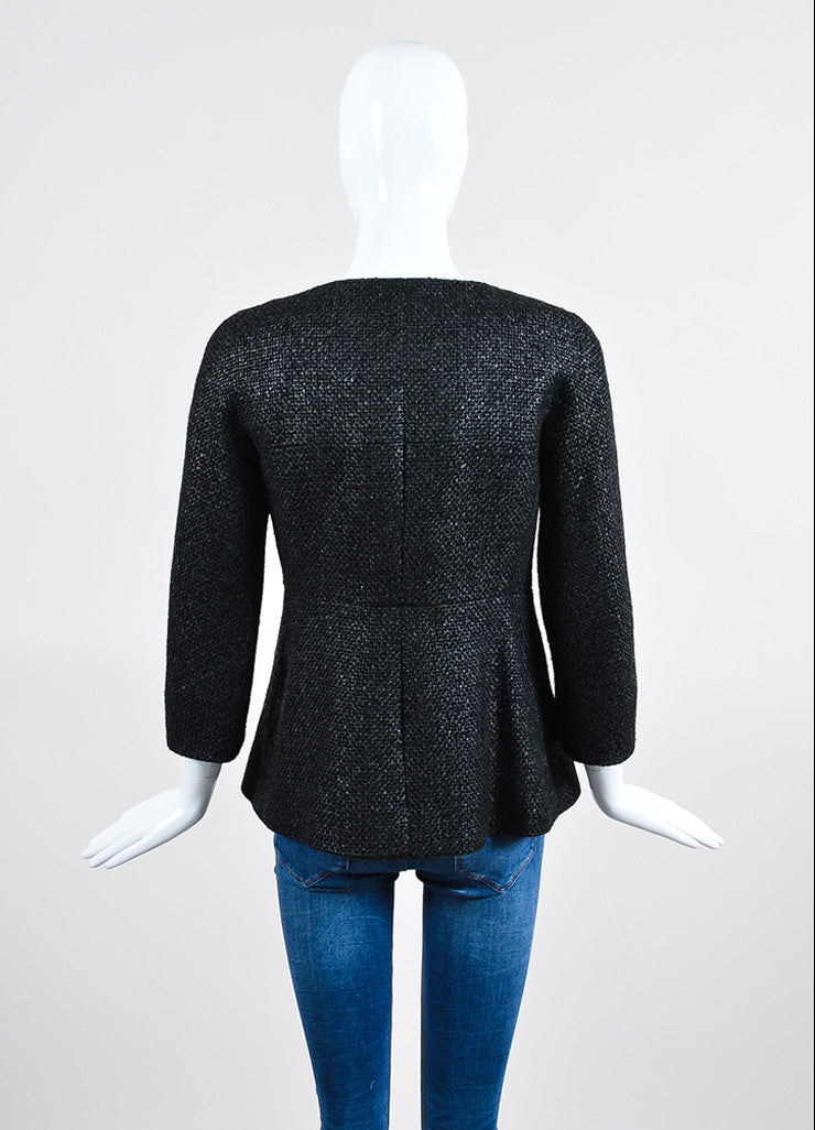 Black Chanel Coated Tweed 'CC' Button Collarless Jacket Backview