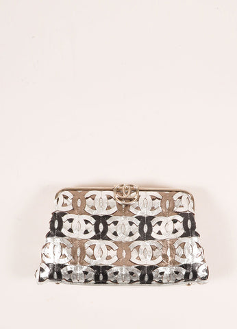 "Chanel Black Metallic, Silver, and Bronze Leather ""CC"" Patchwork Clutch Bag Frontview"