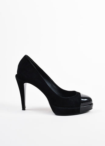 Chanel Black Suede and Patent Leather Cap Toe 'CC' Platform Pumps Sideview