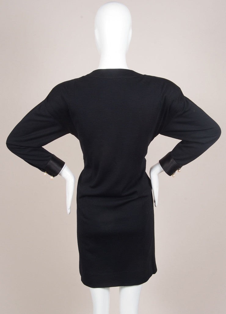 Chanel Black Wool and Silk Faux Pearl Embellished Bow Long Sleeve Shift Dress Backview