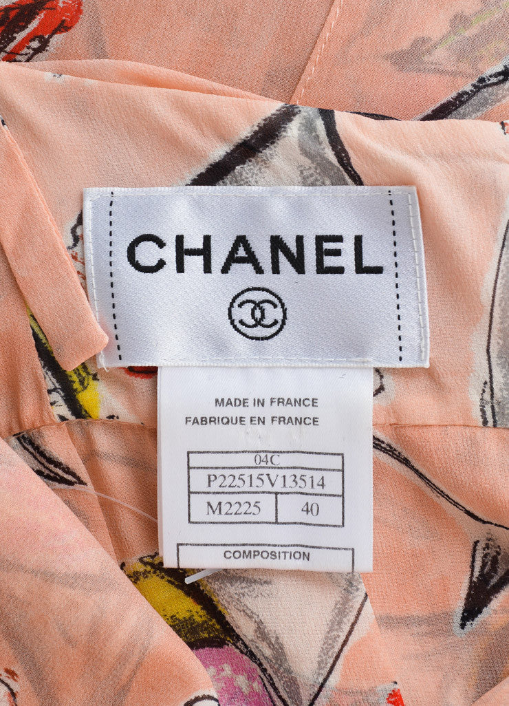 Chanel Light Pink and Multicolor Silk Chiffon Ice Cream Print Halter Dress Brand