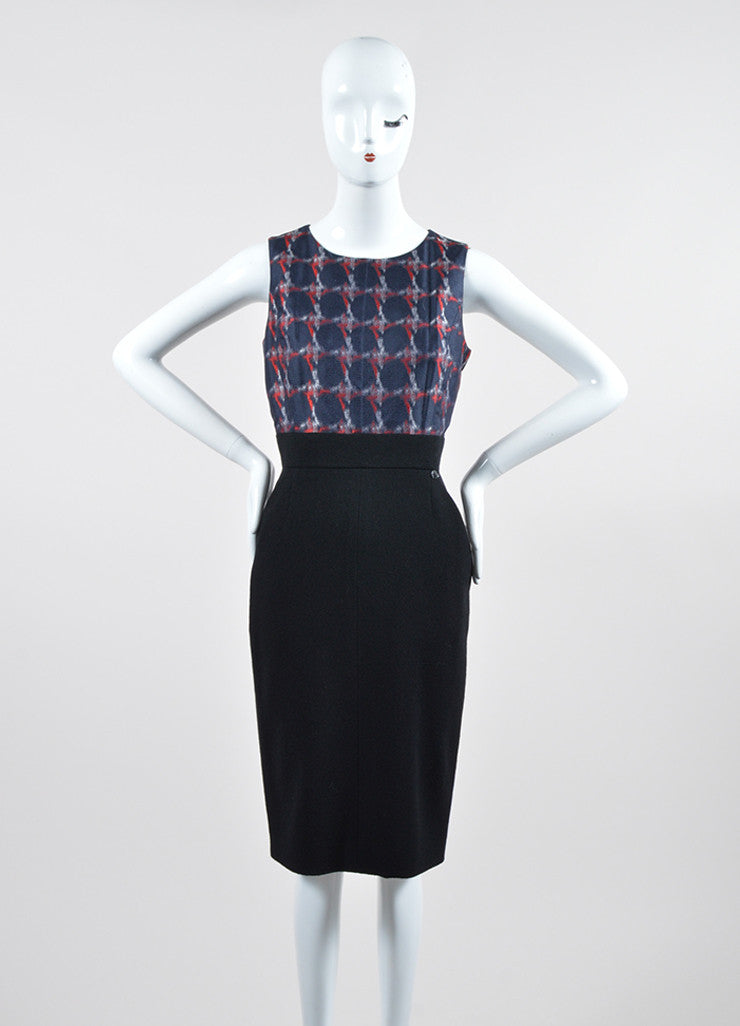 Black, Navy, and Red Chanel Silk and Wool Sheath Dress Frontview