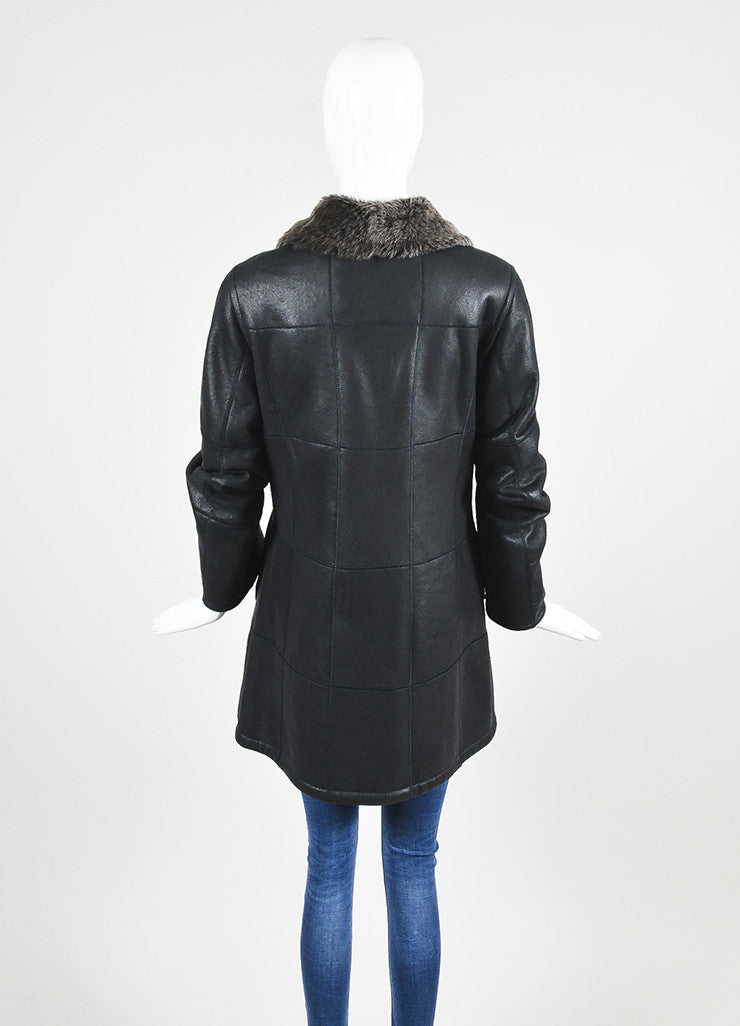 Christ Black and Brown Leather Shearling Seamed Jacket Backview