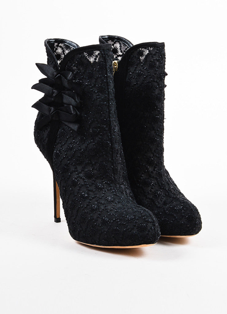 Black Christian Dior Floral Embroidered Platform Almond Toe Ankle Boots Frontview