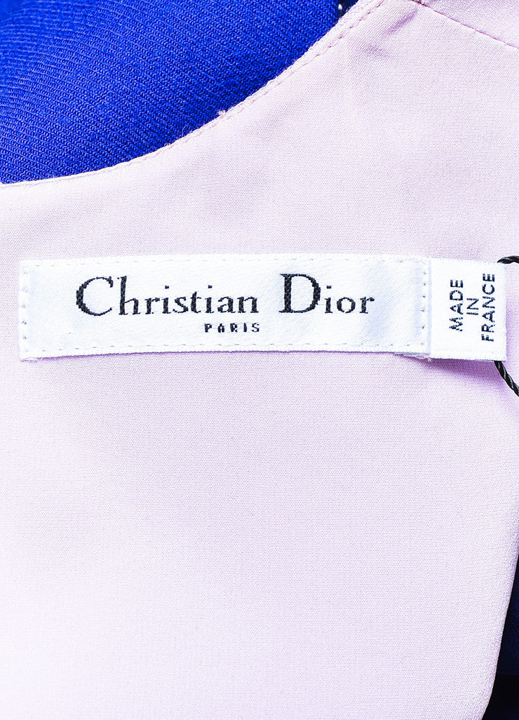 ¥éËChristian Dior Blue and Pink Wool Paneled Off The Shoulder Sheath Dress Brand