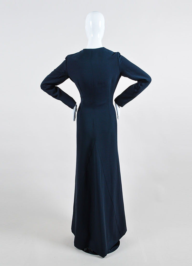 "Christian Dior Navy ""Bleu Marine"" Silk Wool Buttoned Long Sleeve Gown Backview"