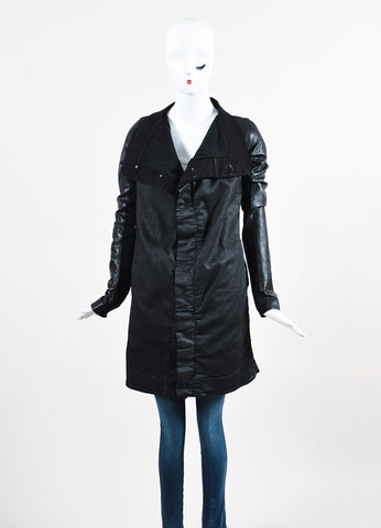 "DRKSHDW Rick Owens Black Leather Wax Cotton Draped Neck ""Exploder"" Jacket Frontview 2"