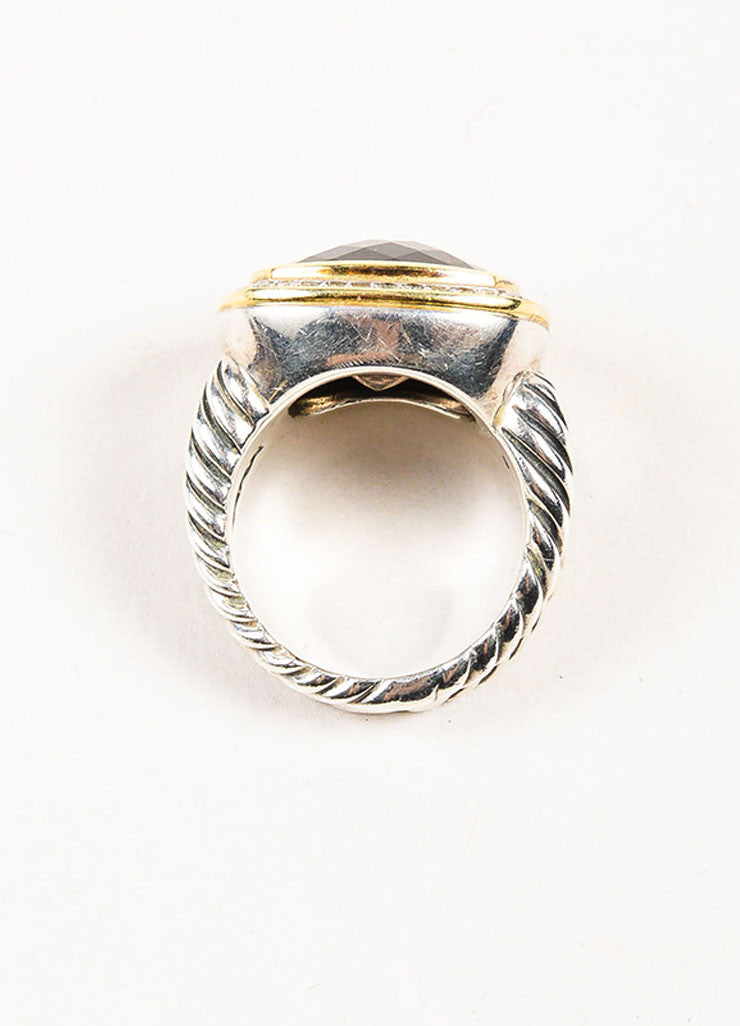 "David Yurman Sterling Silver, 18K Gold, and Smoky Quartz Diamond ""Albion"" Ring Topview"