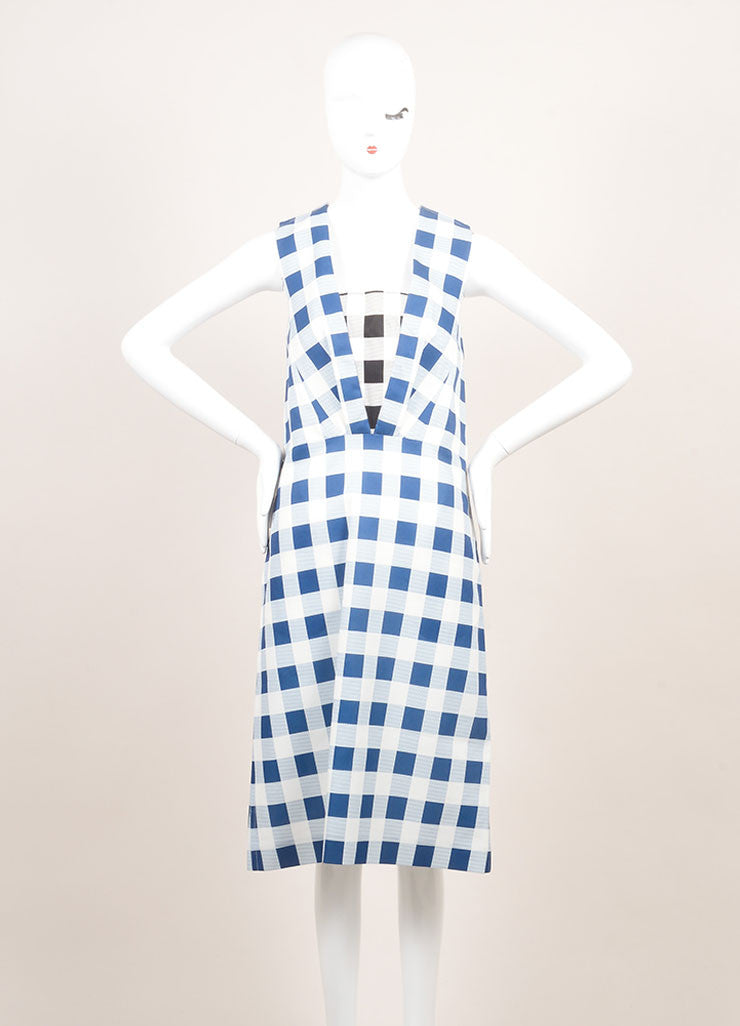 Derek Lam New With Tags Blue and White Checkered Plaid Silk Blend Sleeveless Dress Frontview