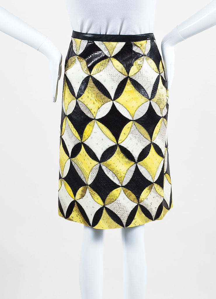 Yellow, White, and Black Derek Lam Seasnake Leather Pencil Skirt Backview