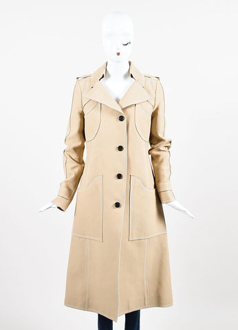 Beige and White Derek Lam Silk Blend Patch Pocket Trench Coat Frontview 2