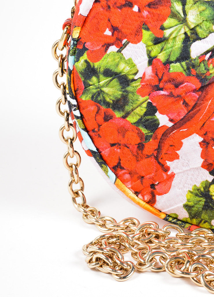 "Dolce & Gabbana Pink, Red, and Green Floral and Fruit Round ""Glam"" Crossbody Bag Detail 2"