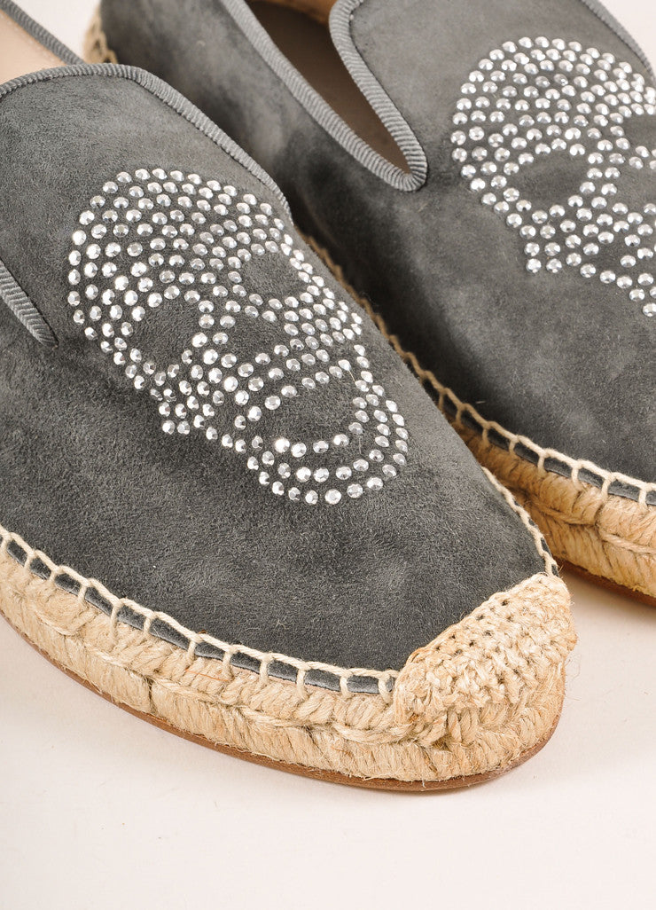 Elyse Walker New In Box Grey Suede Rhinestone Skull Espadrille Flats Detail