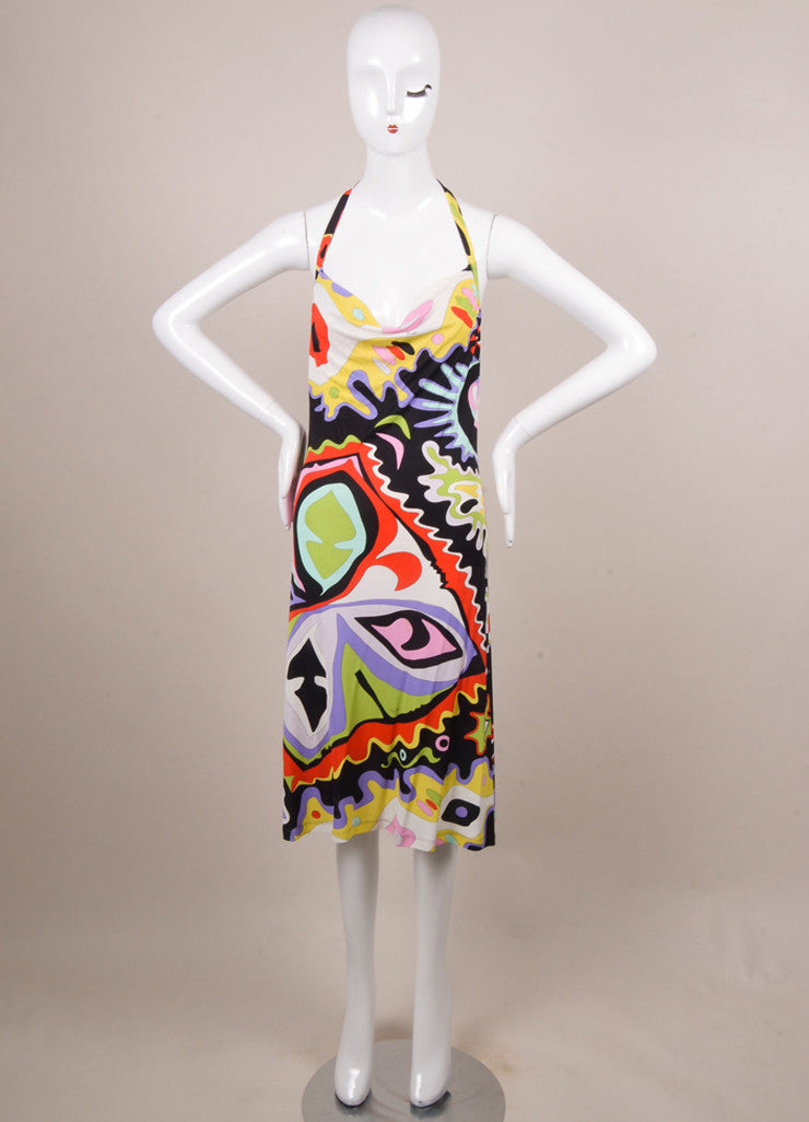 Emilio Pucci Black, White, and Red Abstract Print Cowl Neck Halter Dress Frontview