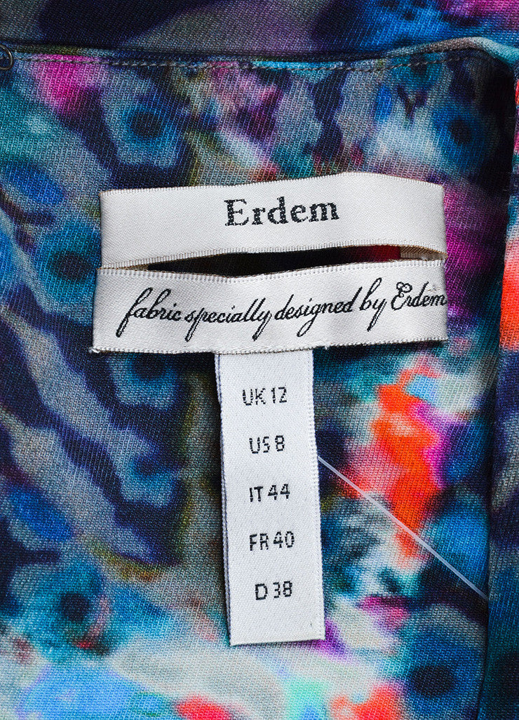 Erdem Blue and Pink Cotton Blend Watercolor Print Sheath Dress Brand