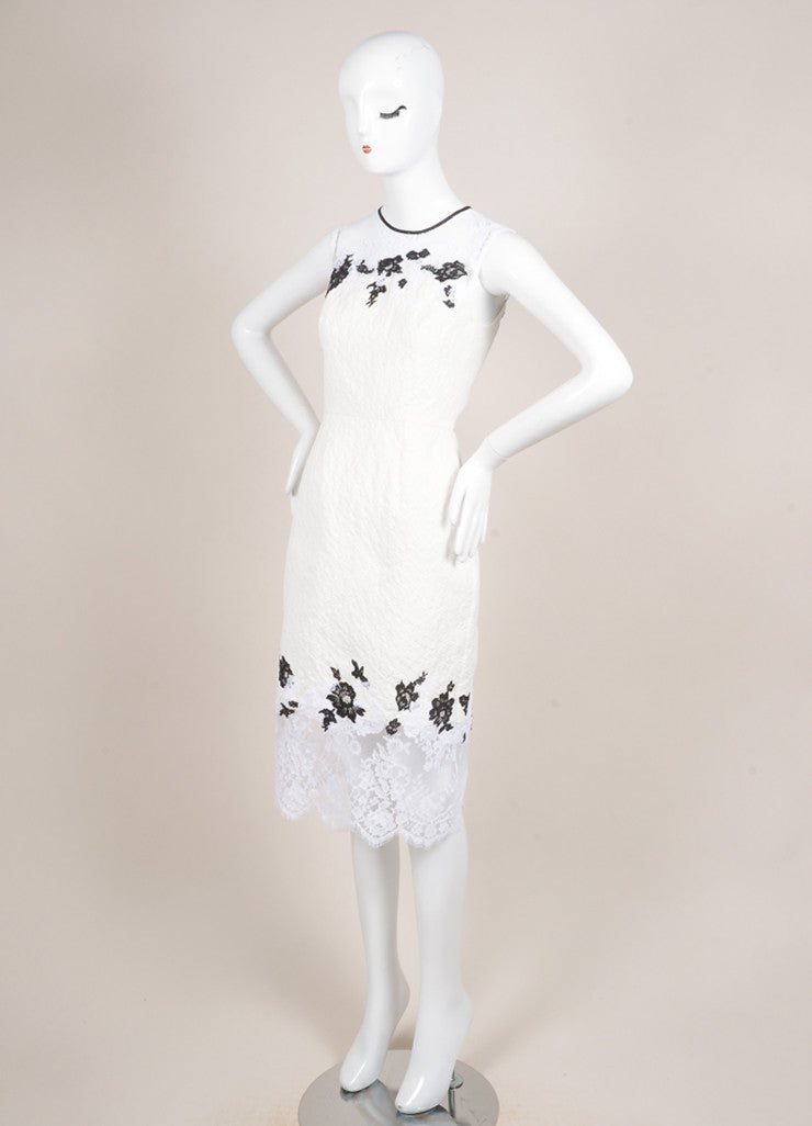 "Erdem New With Tags White and Black Floral Lace Matelasse Sleeveless ""Kent"" Dress Sideview"