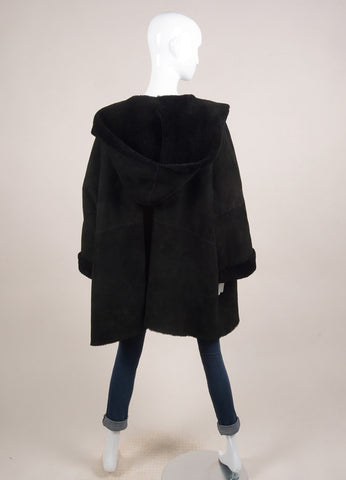 Eskandar Black Suede Shearling Hooded Oversized Coat Backview